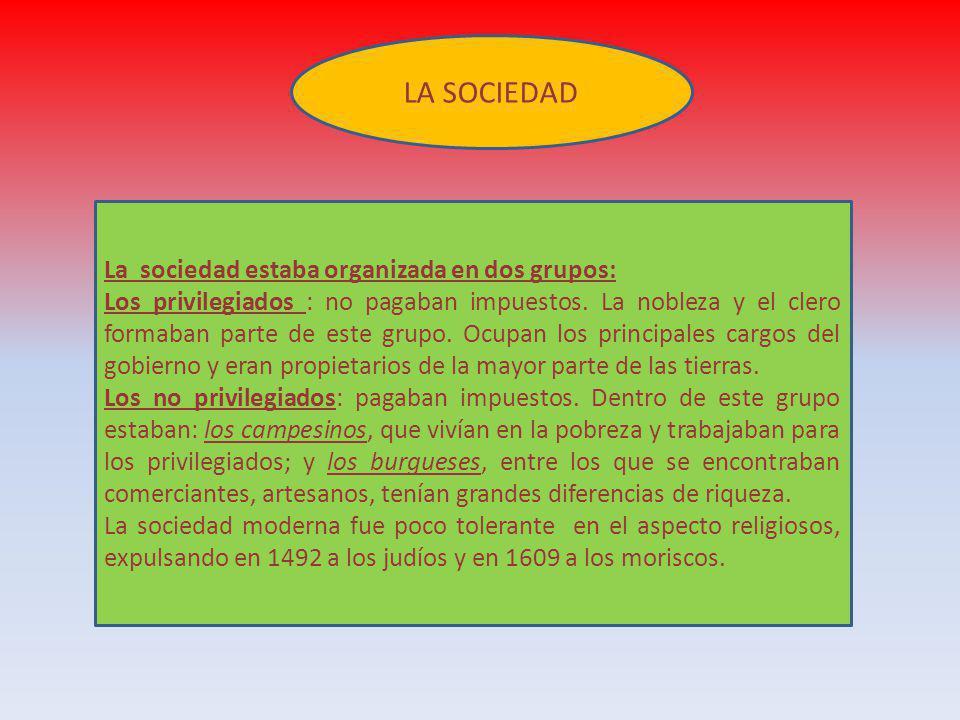 LA SOCIEDAD La sociedad estaba organizada en dos grupos: