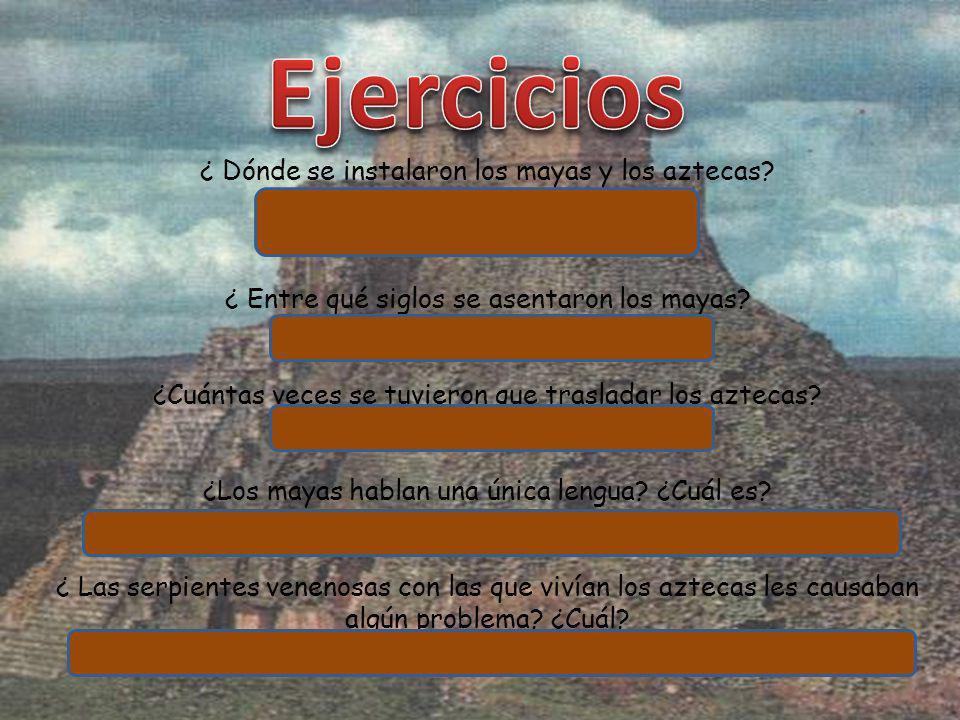 Ejercicios ¿ Dónde se instalaron los mayas y los aztecas