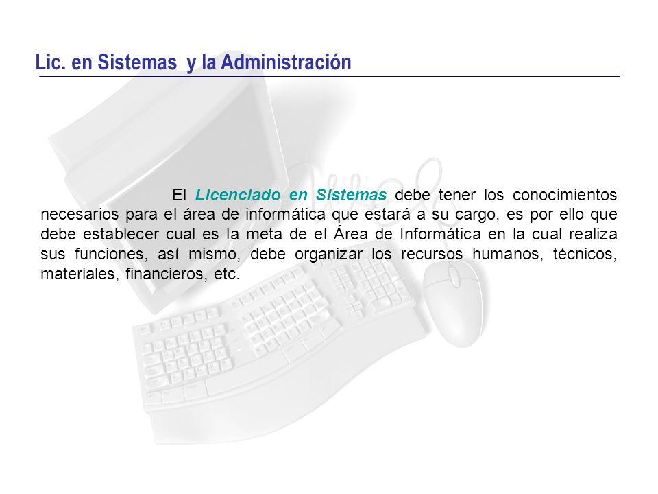 Lic. en Sistemas y la Administración