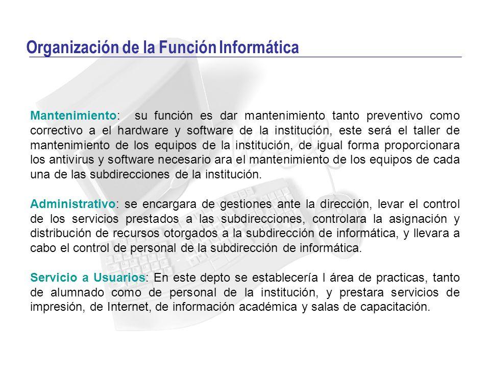 Organización de la Función Informática