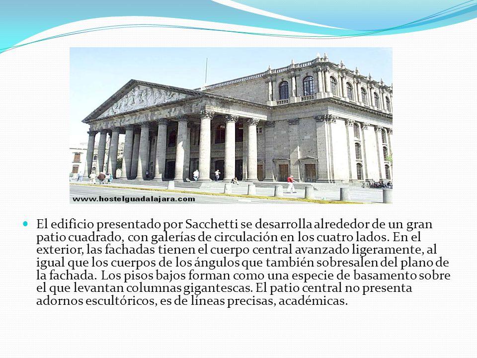 El edificio presentado por Sacchetti se desarrolla alrededor de un gran patio cuadrado, con galerías de circulación en los cuatro lados.