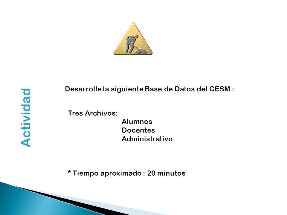 Actividad Desarrolle la siguiente Base de Datos del CESM :