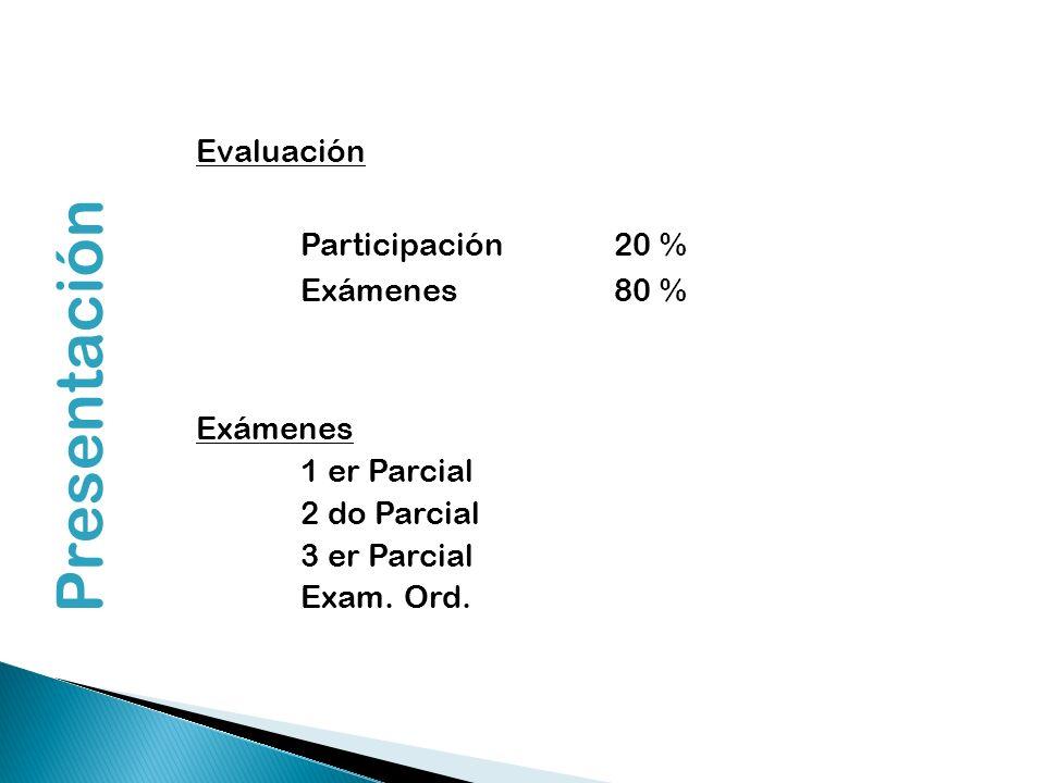Presentación Evaluación Participación 20 % Exámenes 80 % Exámenes