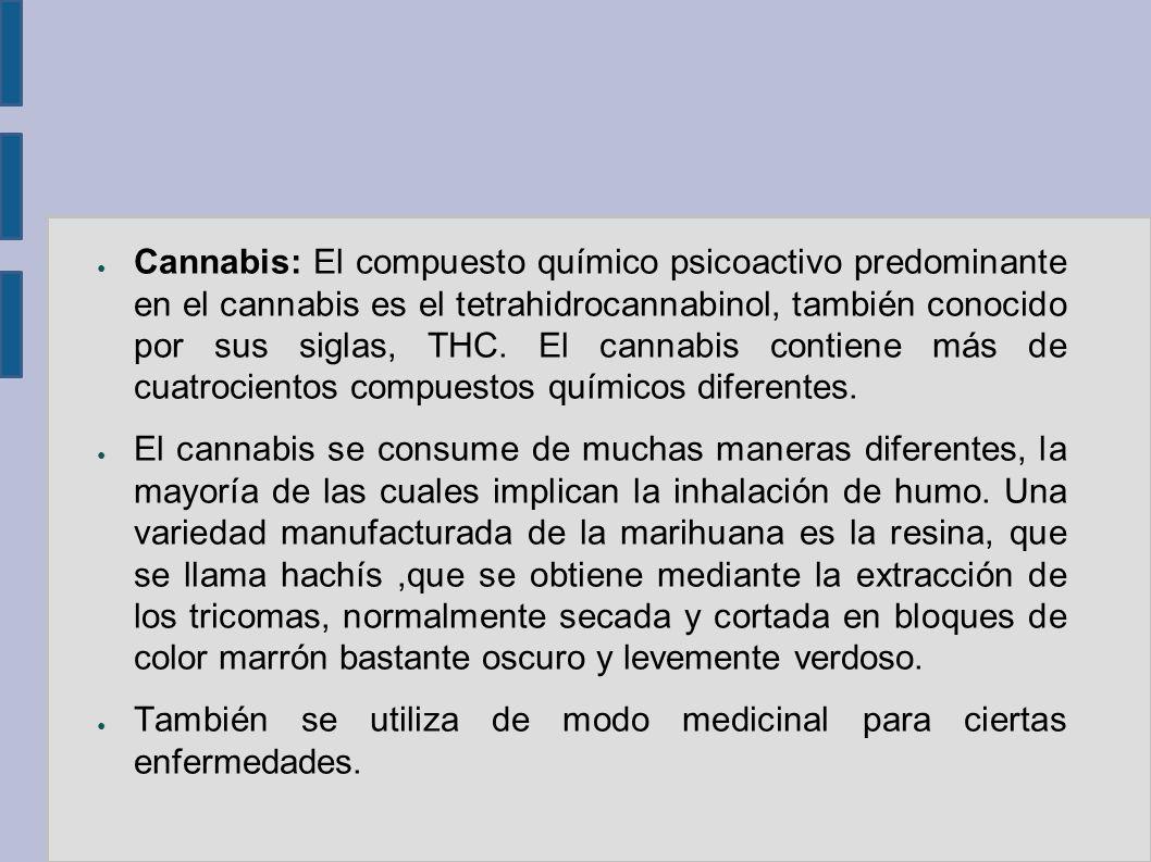 Cannabis: El compuesto químico psicoactivo predominante en el cannabis es el tetrahidrocannabinol, también conocido por sus siglas, THC. El cannabis contiene más de cuatrocientos compuestos químicos diferentes.