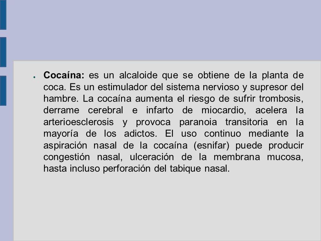 Cocaína: es un alcaloide que se obtiene de la planta de coca