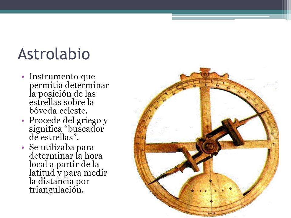 Astrolabio Instrumento que permitía determinar la posición de las estrellas sobre la bóveda celeste.