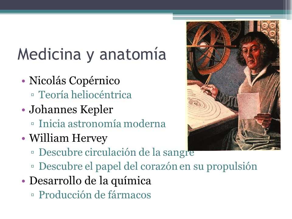 Medicina y anatomía Nicolás Copérnico Johannes Kepler William Hervey