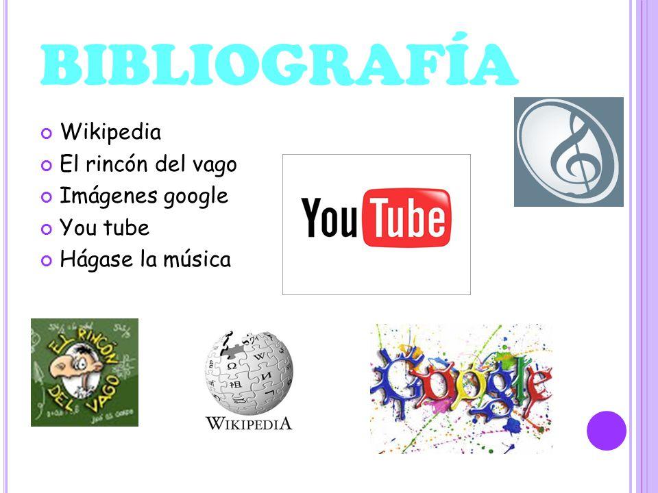BIBLIOGRAFÍA Wikipedia El rincón del vago Imágenes google You tube