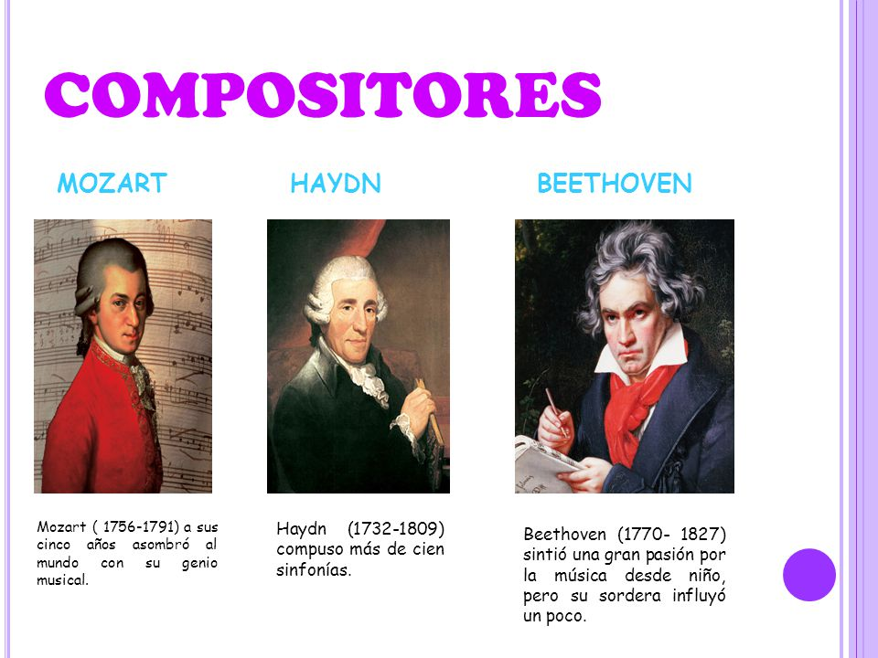 COMPOSITORES MOZART HAYDN BEETHOVEN