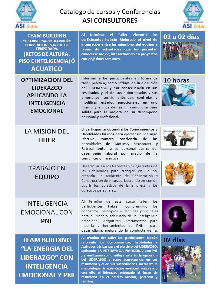 Catalogo de cursos y Conferencias ASI CONSULTORES 01 o 02 días