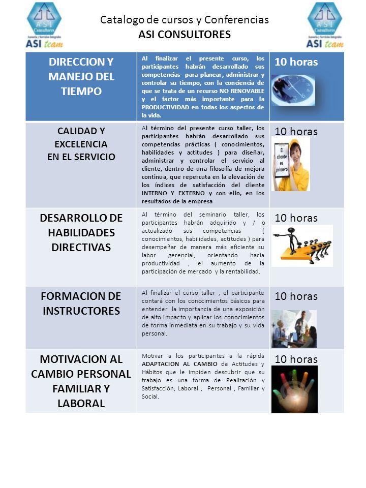 Catalogo de cursos y Conferencias ASI CONSULTORES
