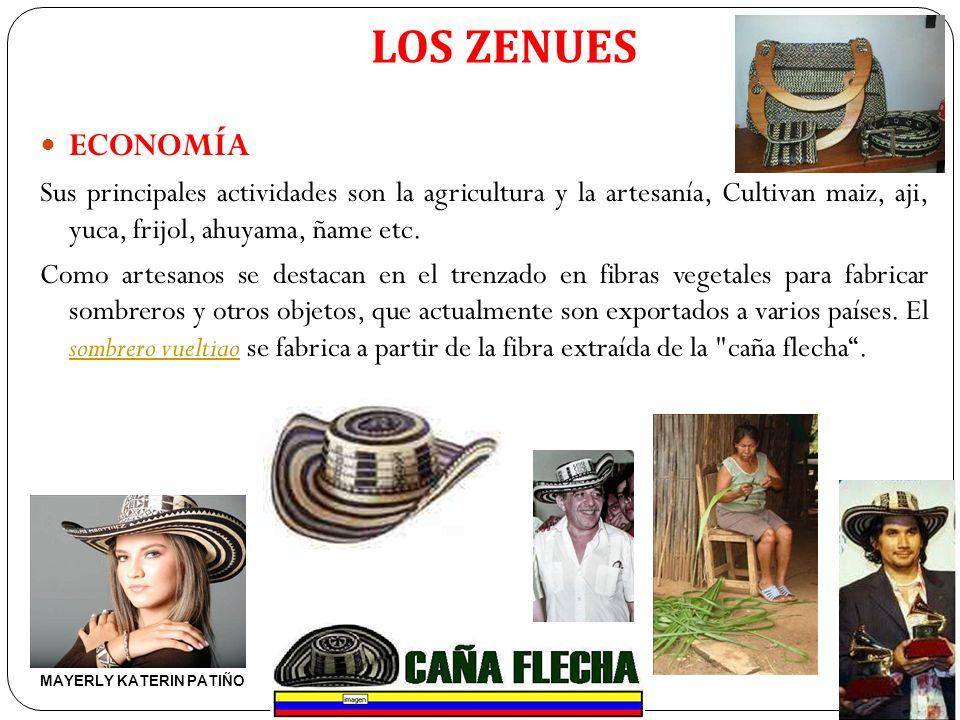 LOS ZENUES ECONOMÍA. Sus principales actividades son la agricultura y la artesanía, Cultivan maiz, aji, yuca, frijol, ahuyama, ñame etc.