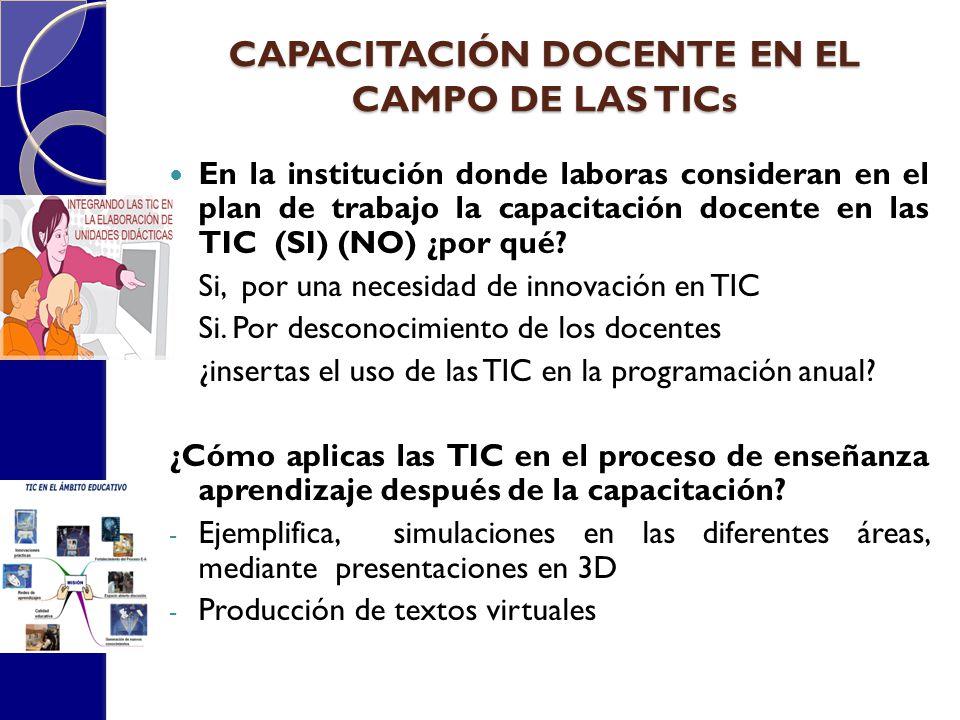 CAPACITACIÓN DOCENTE EN EL CAMPO DE LAS TICs