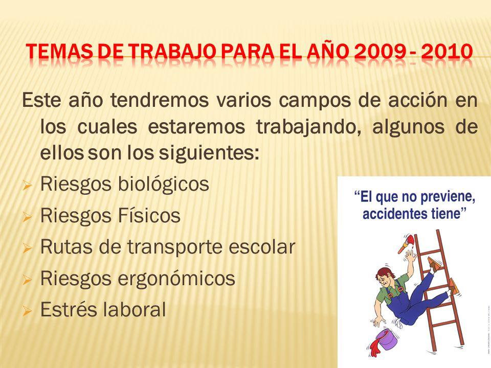 TEMAS de trabajo para el año 2009 - 2010