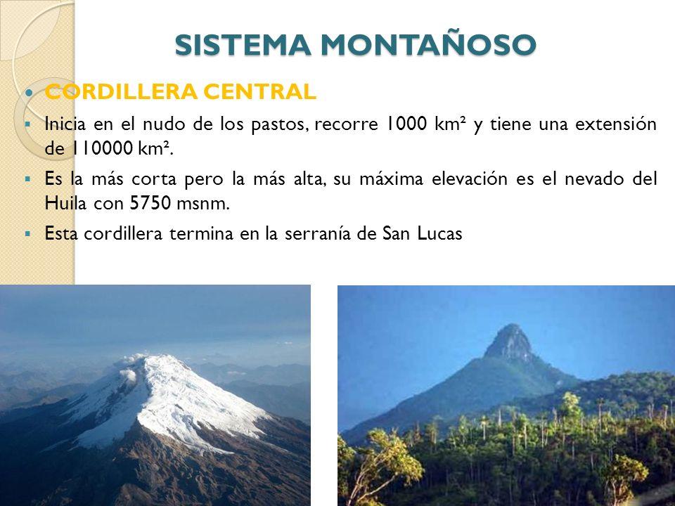 SISTEMA MONTAÑOSO CORDILLERA CENTRAL