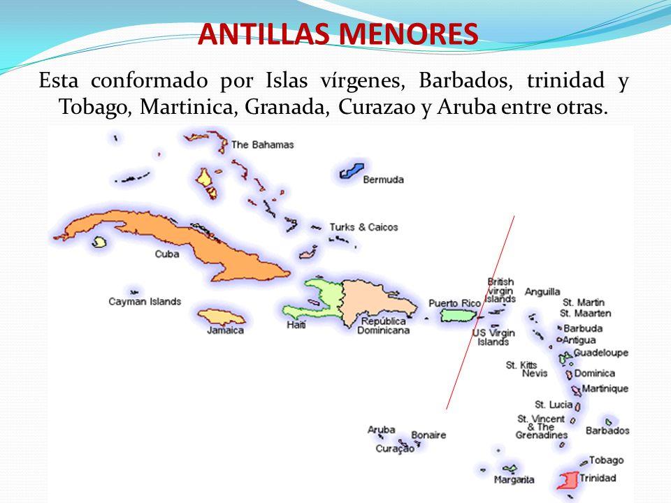 ANTILLAS MENORES Esta conformado por Islas vírgenes, Barbados, trinidad y Tobago, Martinica, Granada, Curazao y Aruba entre otras.