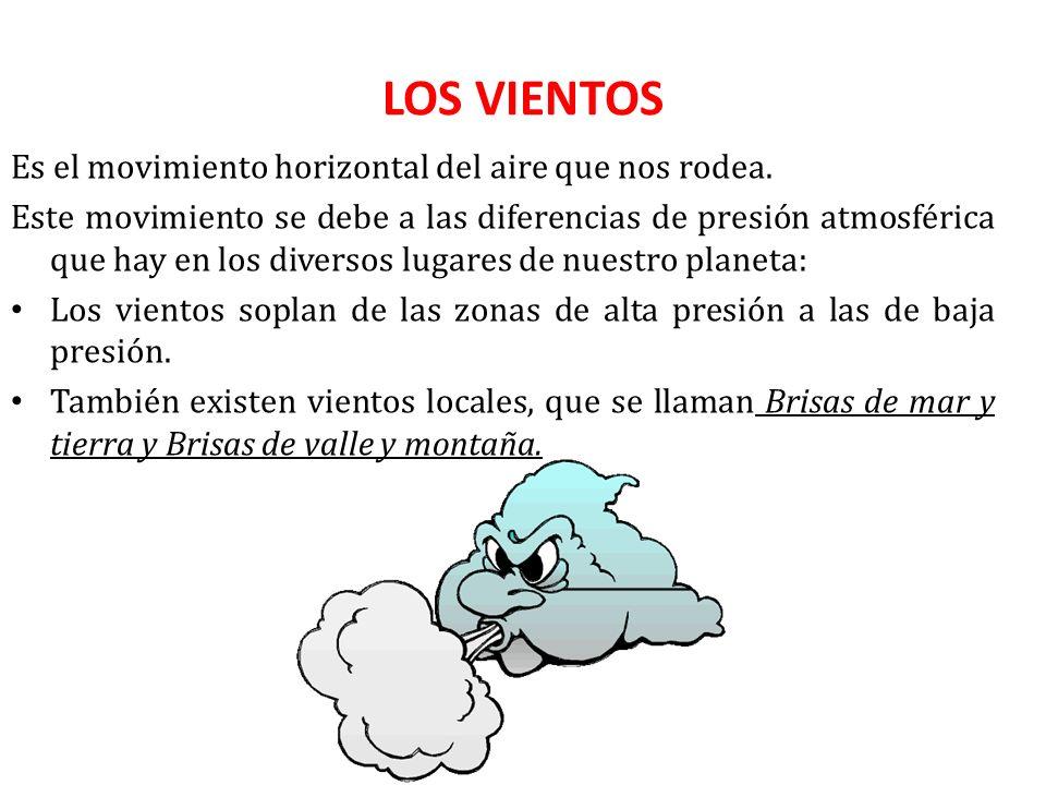 LOS VIENTOS Es el movimiento horizontal del aire que nos rodea.