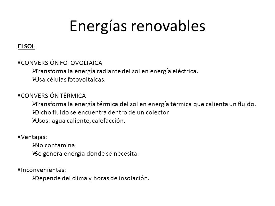 Energías renovables ELSOL CONVERSIÓN FOTOVOLTAICA