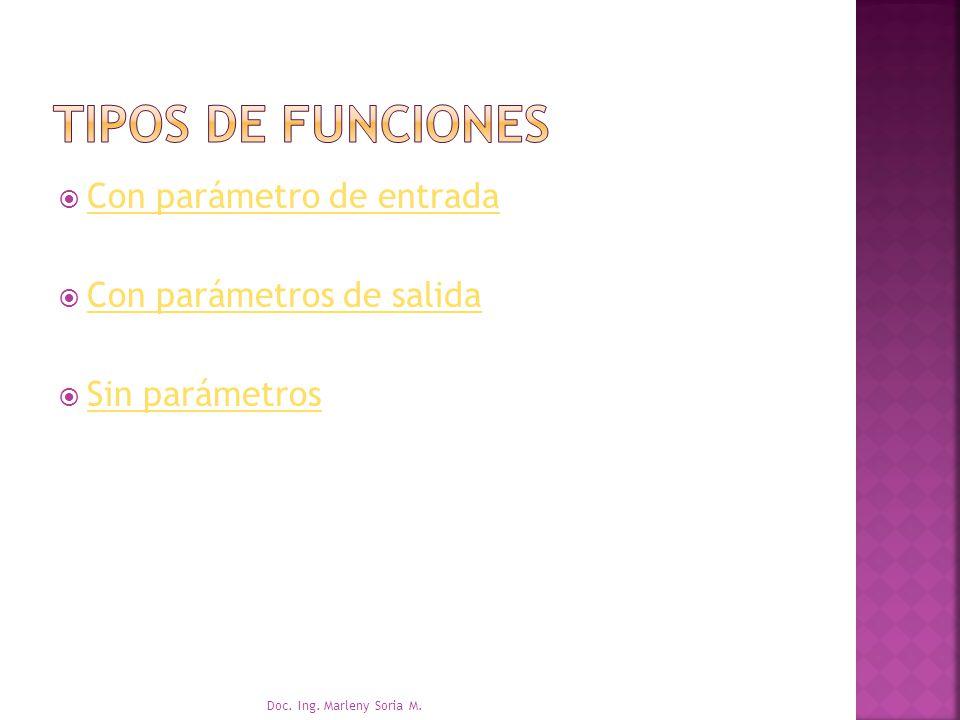 TIPOS DE FUNCIONES Con parámetro de entrada Con parámetros de salida