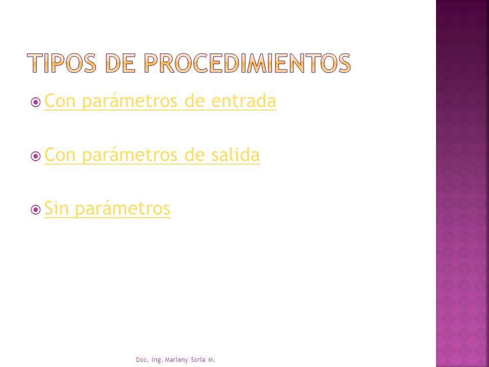 Tipos de procedimientos