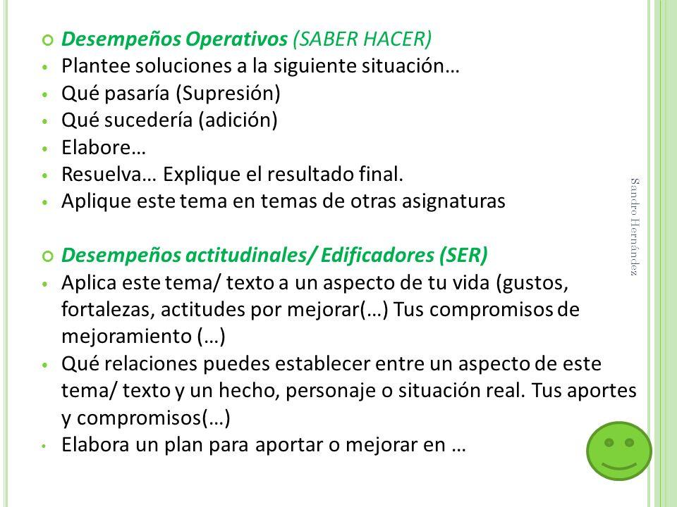 Desempeños Operativos (SABER HACER)