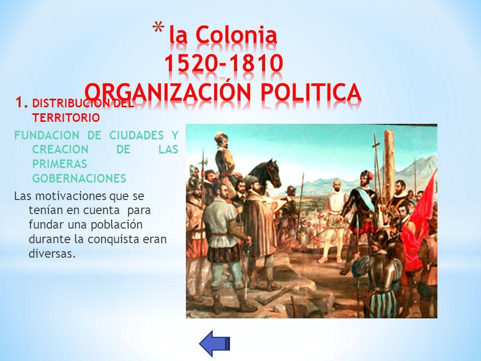 la Colonia 1520-1810 ORGANIZACIÓN POLITICA