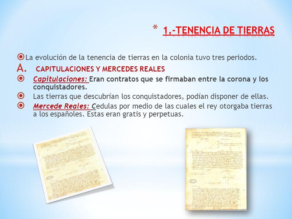 1.-TENENCIA DE TIERRAS CAPITULACIONES Y MERCEDES REALES