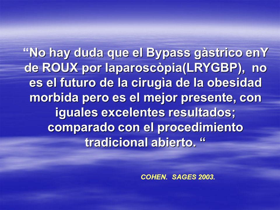 No hay duda que el Bypass gàstrico enY de ROUX por laparoscòpia(LRYGBP), no es el futuro de la cirugìa de la obesidad morbida pero es el mejor presente, con iguales excelentes resultados; comparado con el procedimiento tradicional abierto.