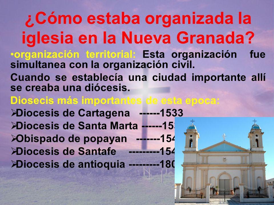 ¿Cómo estaba organizada la iglesia en la Nueva Granada