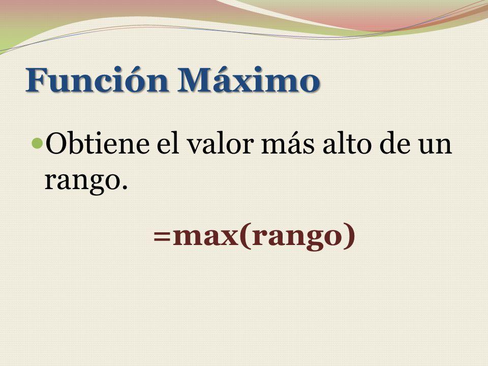 Función Máximo Obtiene el valor más alto de un rango. =max(rango)