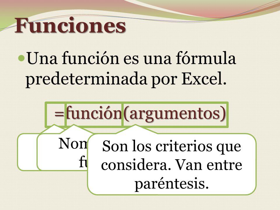 Funciones Una función es una fórmula predeterminada por Excel.