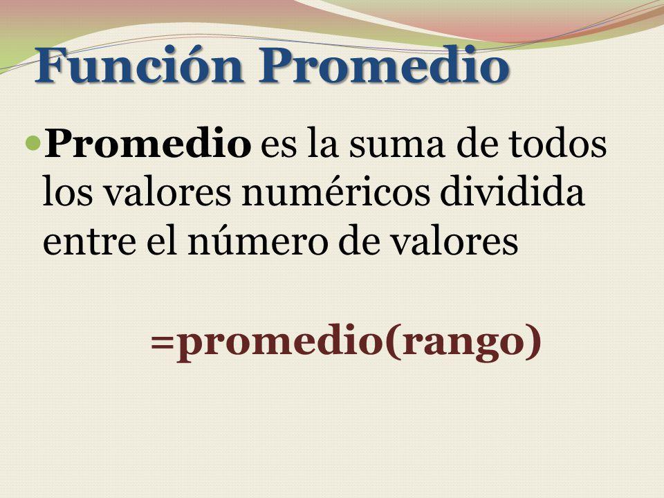 Función Promedio Promedio es la suma de todos los valores numéricos dividida entre el número de valores.