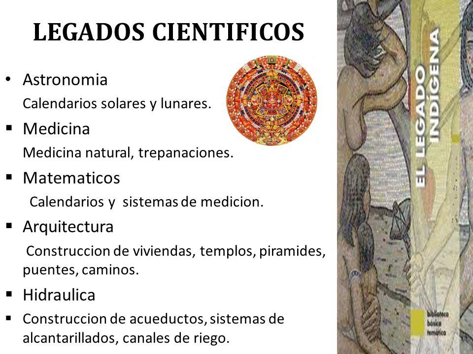 LEGADOS CIENTIFICOS Astronomia Medicina Matematicos Arquitectura