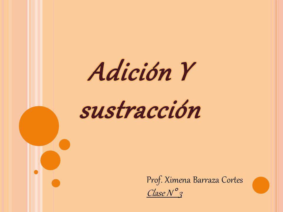 Adición Y sustracción Prof. Ximena Barraza Cortes Clase N° 3