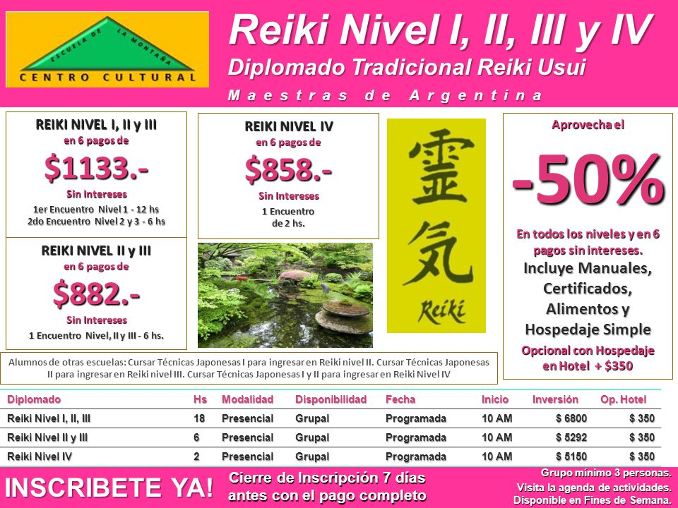 Reiki Nivel I, II, III y IV INSCRIBETE YA!