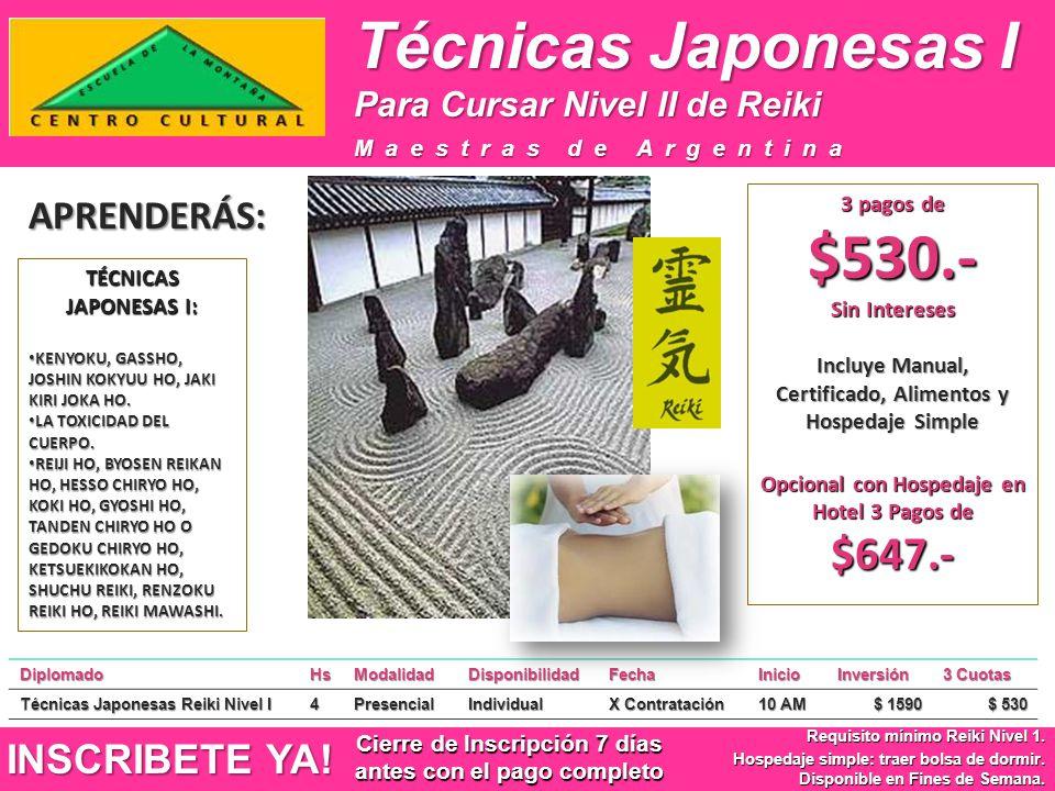 Técnicas Japonesas I APRENDERÁS: INSCRIBETE YA!