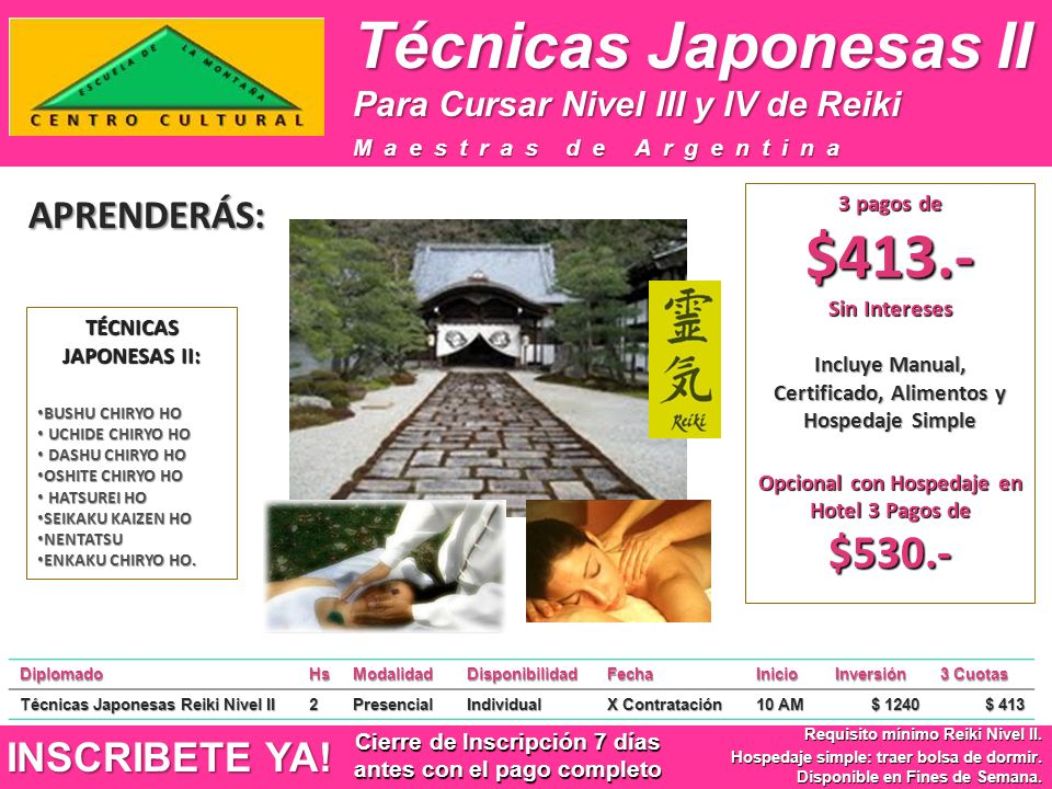 Técnicas Japonesas II APRENDERÁS: INSCRIBETE YA!