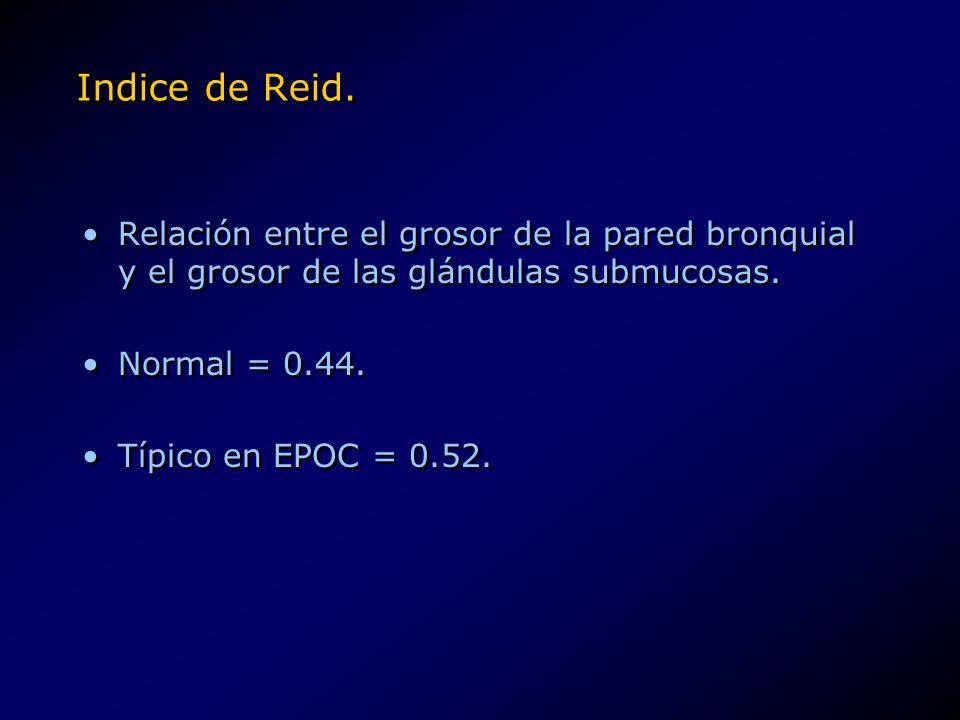 Indice de Reid.Relación entre el grosor de la pared bronquial y el grosor de las glándulas submucosas.