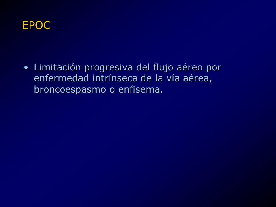 EPOC Limitación progresiva del flujo aéreo por enfermedad intrínseca de la vía aérea, broncoespasmo o enfisema.