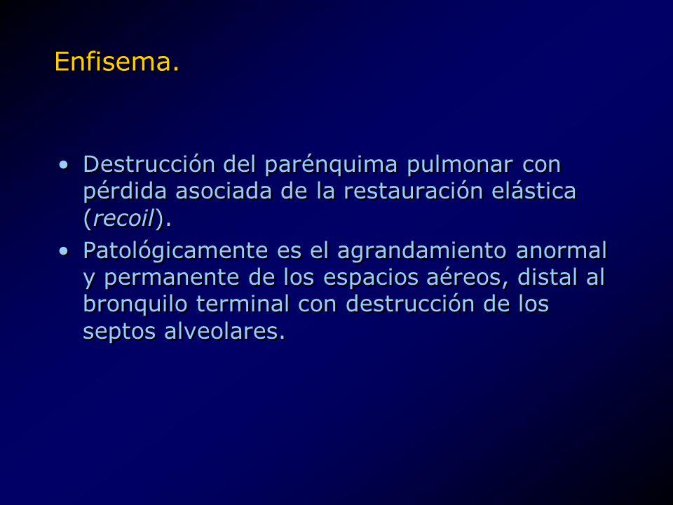 Enfisema. Destrucción del parénquima pulmonar con pérdida asociada de la restauración elástica (recoil).