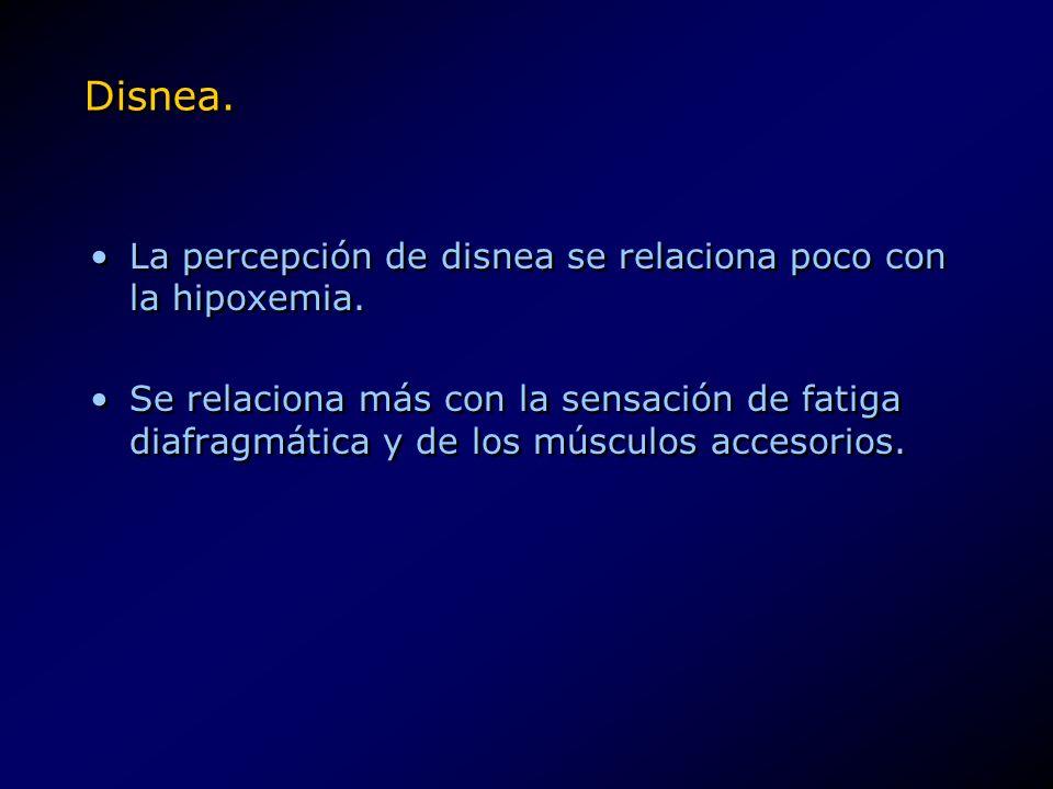 Disnea. La percepción de disnea se relaciona poco con la hipoxemia.