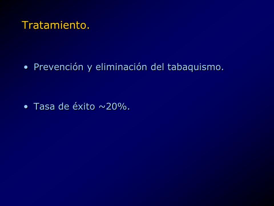 Tratamiento. Prevención y eliminación del tabaquismo.