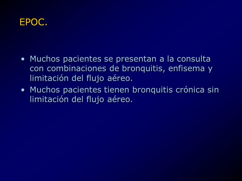 EPOC. Muchos pacientes se presentan a la consulta con combinaciones de bronquitis, enfisema y limitación del flujo aéreo.