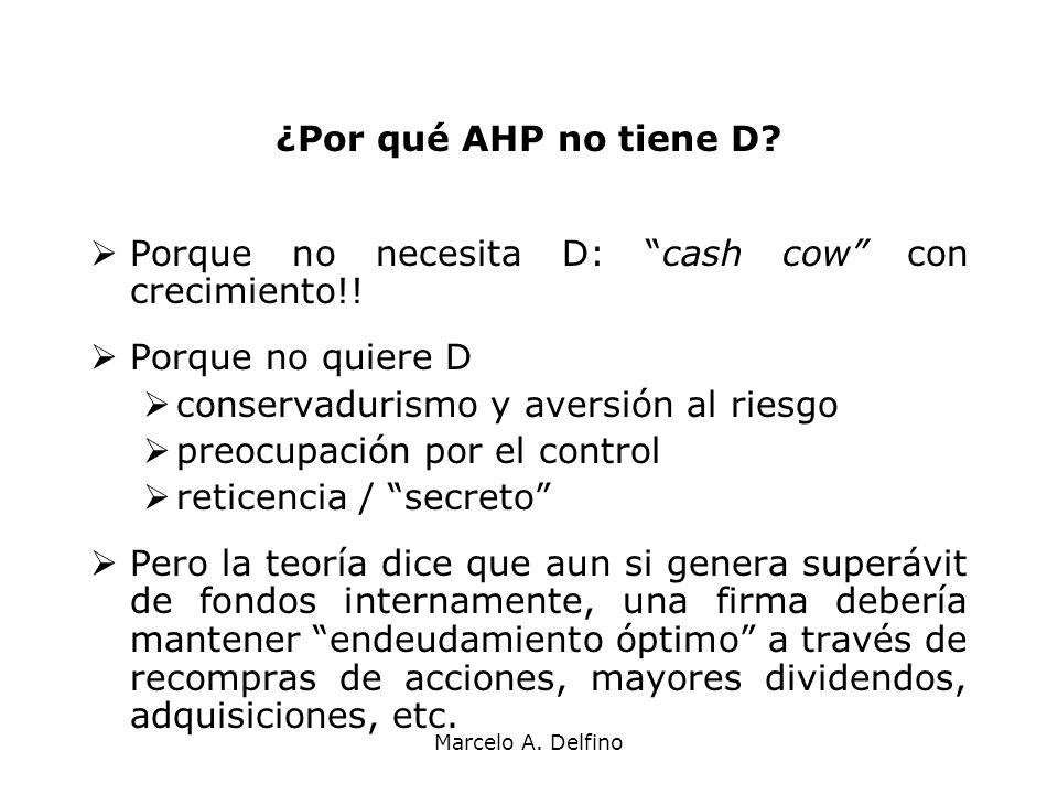 Porque no necesita D: cash cow con crecimiento!! Porque no quiere D