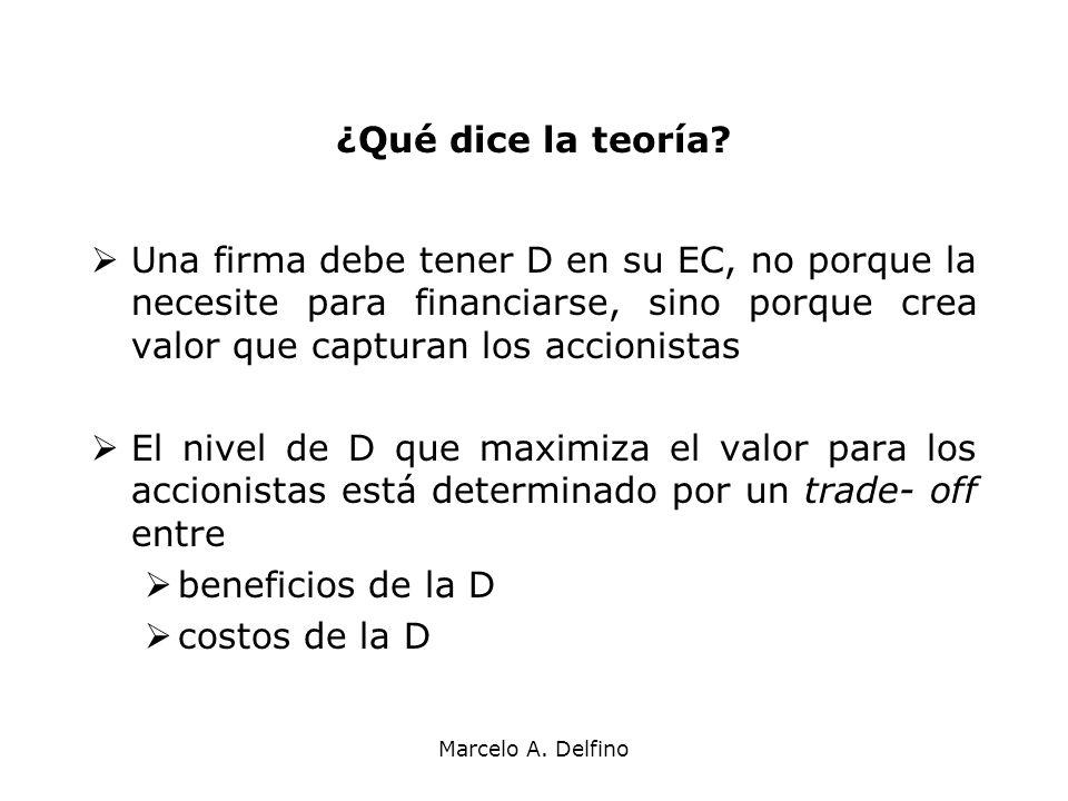¿Qué dice la teoría Una firma debe tener D en su EC, no porque la necesite para financiarse, sino porque crea valor que capturan los accionistas.