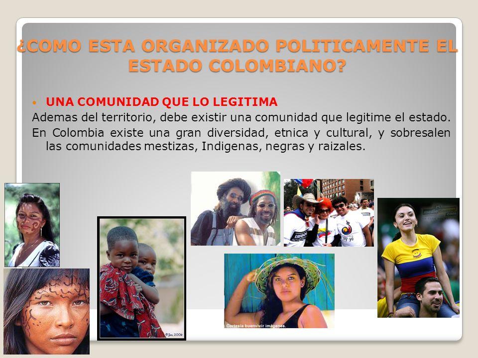 ¿COMO ESTA ORGANIZADO POLITICAMENTE EL ESTADO COLOMBIANO
