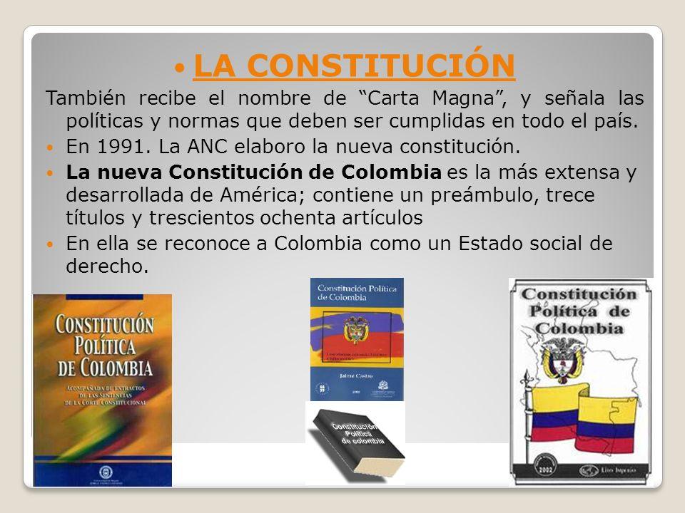 LA CONSTITUCIÓNTambién recibe el nombre de Carta Magna , y señala las políticas y normas que deben ser cumplidas en todo el país.