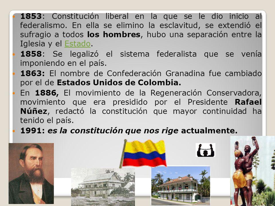 1853: Constitución liberal en la que se le dio inicio al federalismo