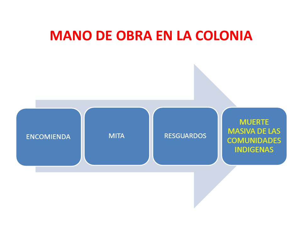 MANO DE OBRA EN LA COLONIA