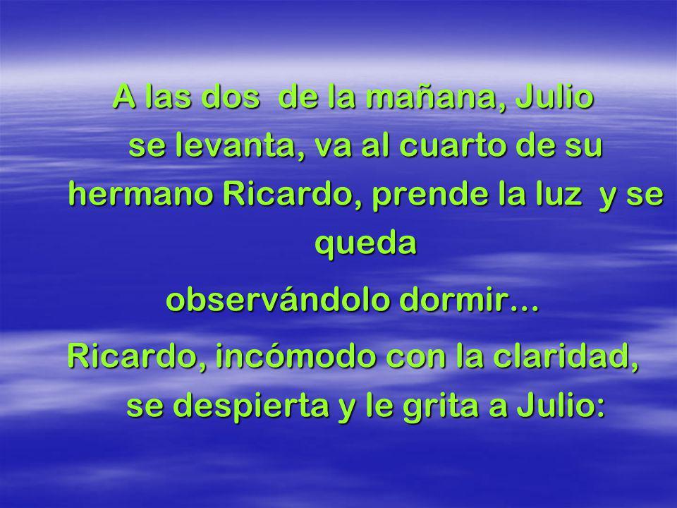 Ricardo, incómodo con la claridad, se despierta y le grita a Julio: